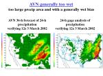 avn generally too wet too large precip area and with a generally wet bias