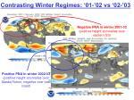 contrasting winter regimes 01 02 vs 02 03