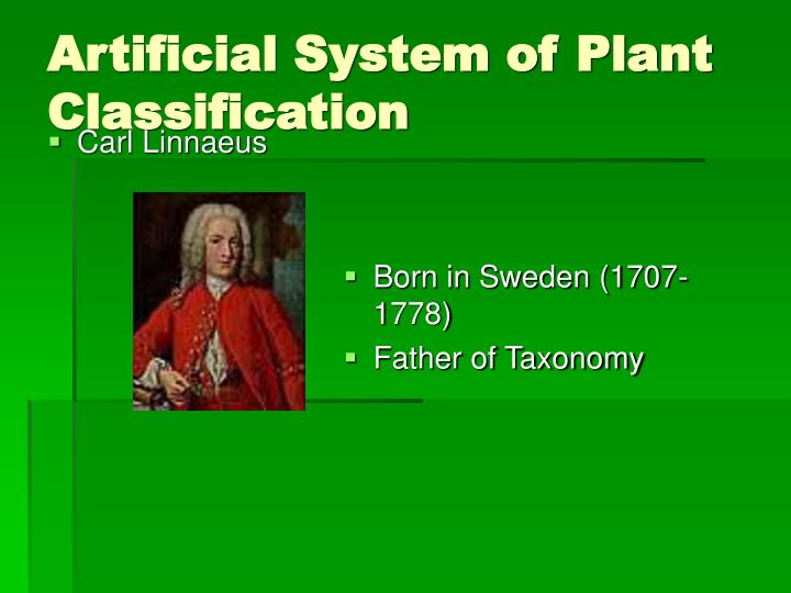 artificial system of plant classification n.