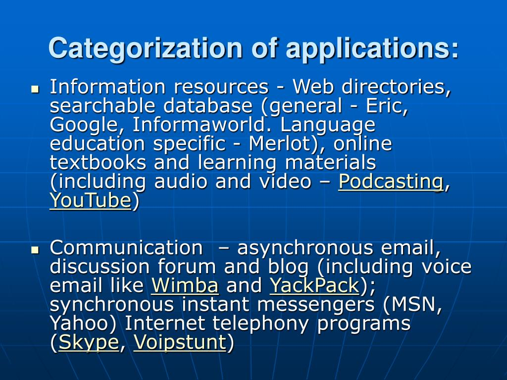 Categorization of applications:
