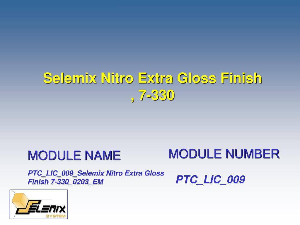 selemix nitro extra gloss finish 7 330 l.