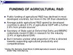 funding of agricultural r d