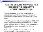 has the decline in applied r d reduced the industry s competitiveness 1