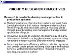 priority research objectives