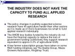the industry does not have the capacity to fund all applied research
