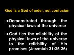 god is a god of order not confusion