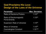 god proclaims his love design of the laws of the universe