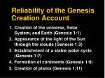 reliability of the genesis creation account