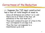 correctness of the reduction48