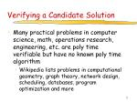 verifying a candidate solution14