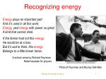 recognizing energy