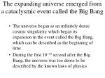 the expanding universe emerged from a cataclysmic event called the big bang
