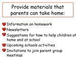 provide materials that parents can take home
