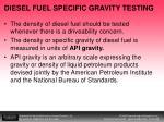 diesel fuel specific gravity testing
