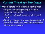 current thinking two camps