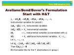 arellano bond bover s formulation start with h t