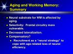 aging and working memory summary