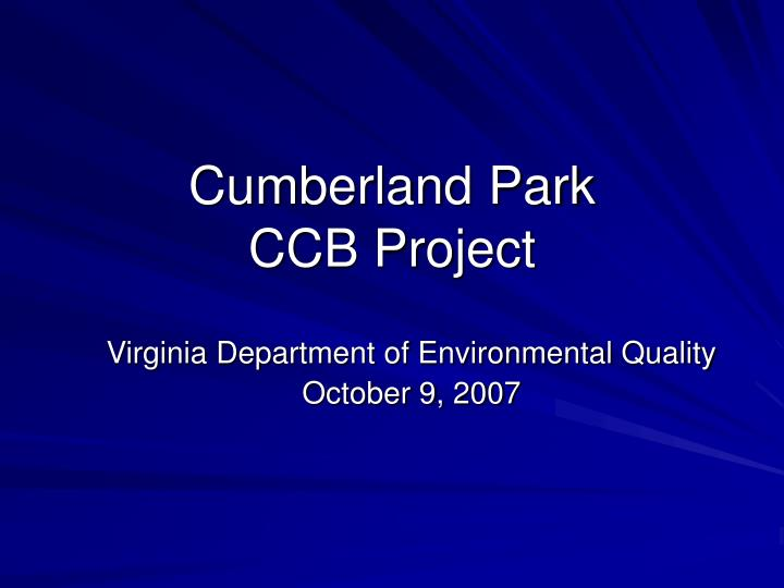 cumberland park ccb project n.