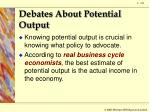 debates about potential output