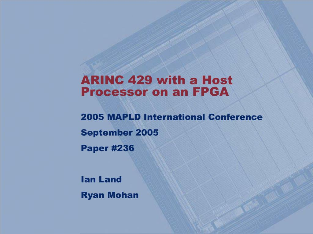 arinc 429 with a host processor on an fpga l.