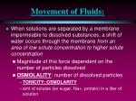 movement of fluids