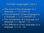 formal languages cont
