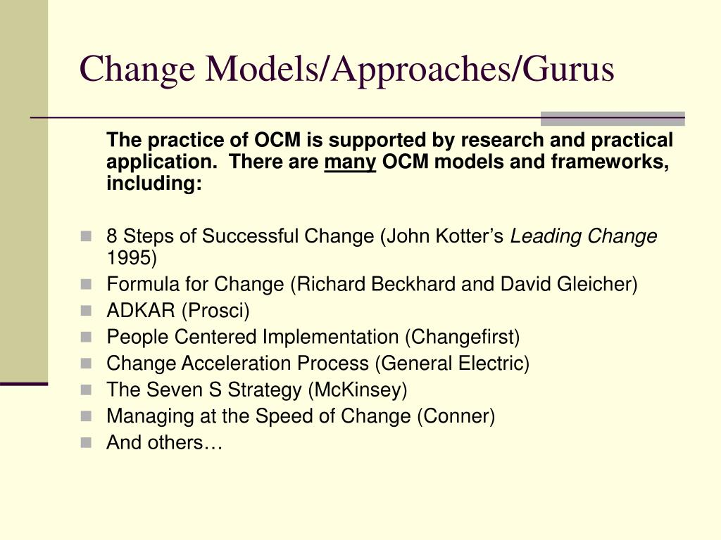 Change Models/Approaches/Gurus