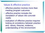 values effective practice