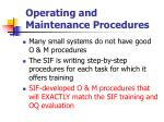 operating and maintenance procedures82