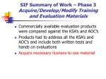 sif summary of work phase 3 acquire develop modify training and evaluation materials36