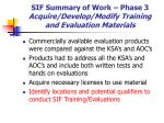 sif summary of work phase 3 acquire develop modify training and evaluation materials37