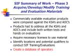 sif summary of work phase 3 acquire develop modify training and evaluation materials38