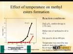 effect of temperature on methyl esters formation
