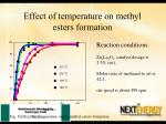 effect of temperature on methyl esters formation1