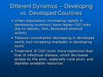 different dynamics developing vs developed countries23