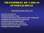 transporte de cargas internacional