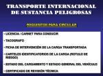 transporte internacional de sustancia peligrosas