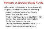 methods of sourcing equity funds