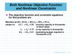 both nonlinear objective function and nonlinear constraints98