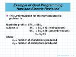 example of goal programming harrison electric revisited