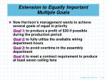 extension to equally important multiple goals