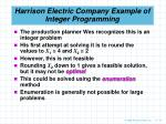 harrison electric company example of integer programming10