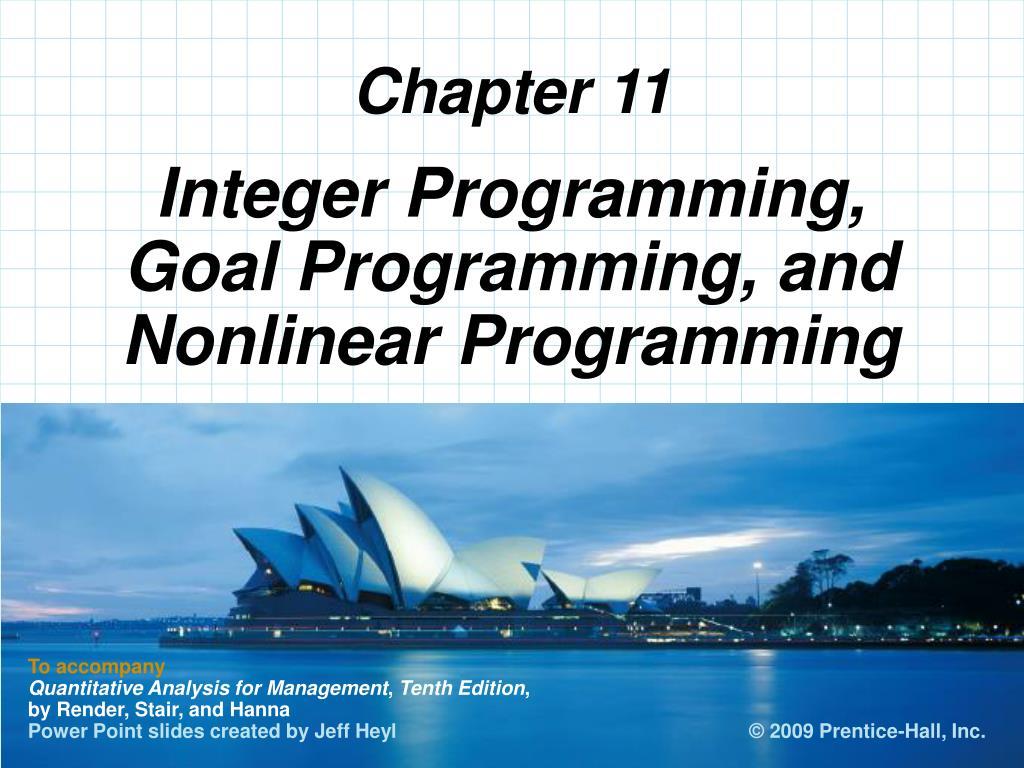 integer programming goal programming and nonlinear programming l.