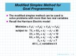 modified simplex method for goal programming