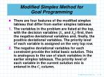 modified simplex method for goal programming79
