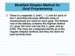 modified simplex method for goal programming80
