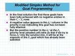 modified simplex method for goal programming85