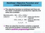 nonlinear objective function and linear constraints94