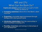 wb and cfs what can the bank do