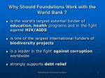 why should foundations work with the world bank